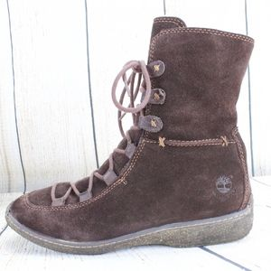 TIMBERLAND Brown Lace Up Suede Winter Boots Size 8